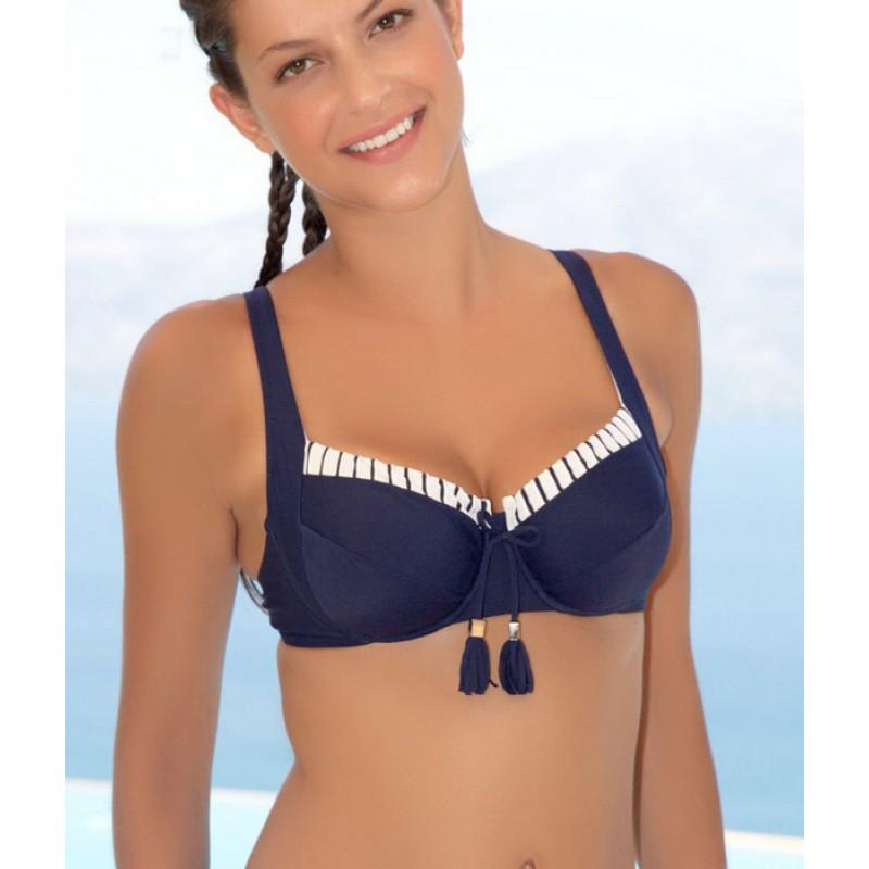 61018e7fb96 ΕΡΚΑ Μαγιό Σουτιέν για μεγάλο στήθος, cup F σε navy χρώματα, κούμπωμα στη  πλάτη, χωρίς ...