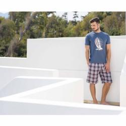f7bacae348f Ανδρική Βαμβακερή Πυτζάμα με καρώ βερμούδα και μπλε σκούρο μπλουζάκι με  στάμπα, Harmony 82309