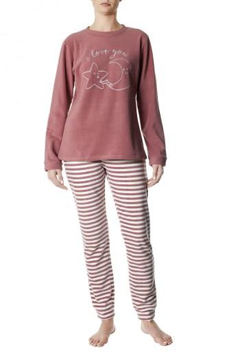 Πυτζάμα Fleece νεανική με ριγέ παντελόνι, Pompea 2444