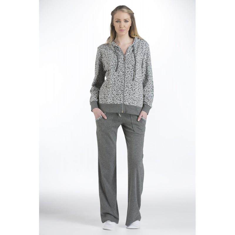 Βαμβακερή Φόρμα σε γκρι χρώμα με animal print το ζακετάκι, δύο λοξές τσέπες στο παντελόνι  ,  Relax 026 - Relax