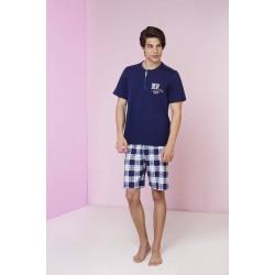 3c8d0223944 Ανδρική Πυτζάμα Vamp Βαμβακερή με μονόχρωμο μπλέ μπλουζάκι και καρρώ  βερμούδα, Vamp 3436