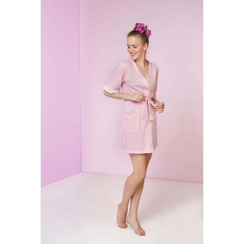 Ρόμπα σταυρωτή Vamp από 100 βαμβάκι σε ρόζ πουά, με λεπτομέρειες από εμπριμέ ύφασμα, Vamp 3403 - Εγκυμοσύνη