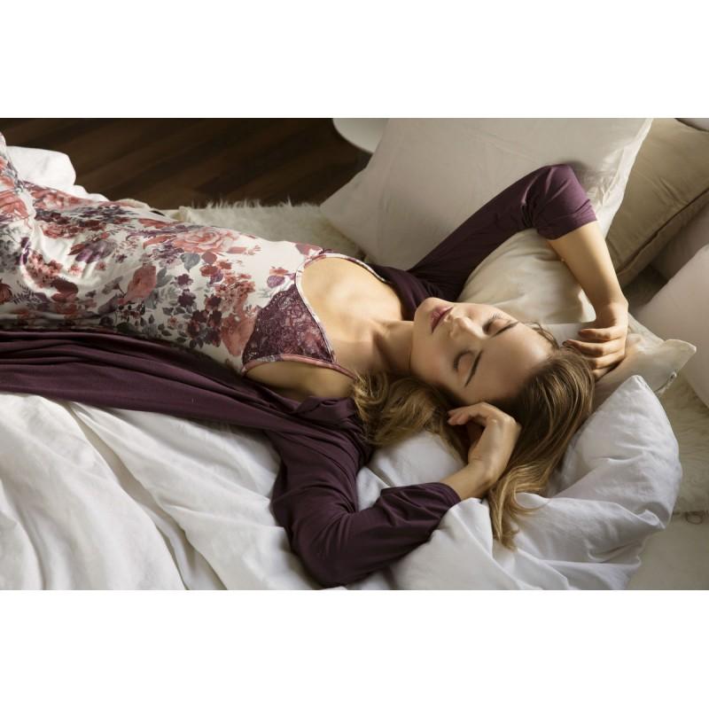 Σετ Νυχτικό τιράντα σε floral σχέδιο μαζί με Ρόμπα MIcromodal σε μονόχρωμο χρώμα, VAMP 2693 - Εγκυμοσύνη