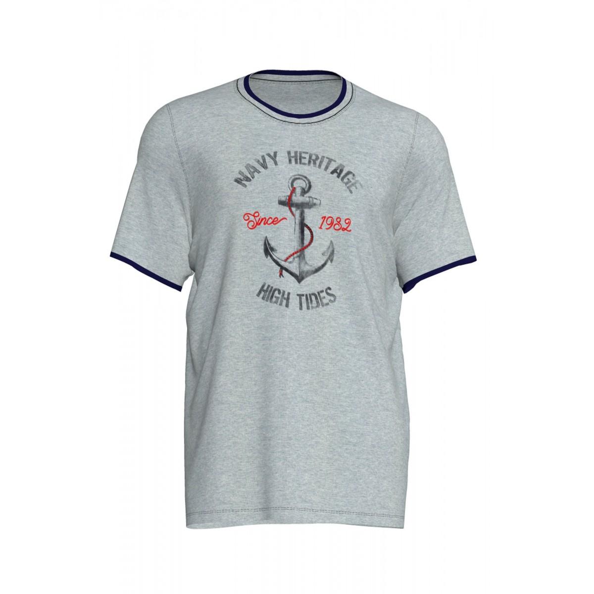 077fb389eed Vamp Ανδρική Πυτζάμα βαμβακερή με γκρι μπλουζάκι και μονόχρωμη μπλέ  βερμούδα,Νο 3ΧL, ...