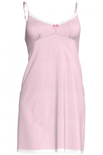 Βαμβακερό Νυχτικό Vamp σε ροζ πουά ύφασμα με λεπτή τιράντα και κόψιμο κάτω από το στήθος, Vamp 3398