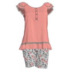 Βερμούδα σε floral σχέδιο με μονόχρωμο μπλουζάκι c736993cd92